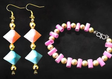 How To Make Earrings And Bracelet Using Drinking Straws?
