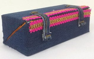 Girls Pouch made from Denim Jeans and Cardboard